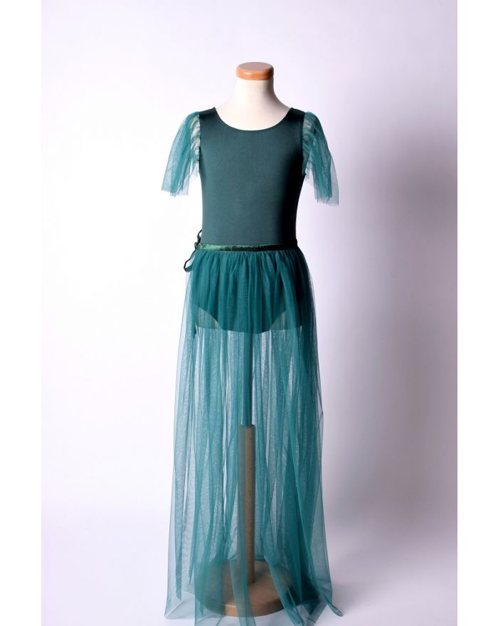 Costum pentru dans si balet cu fusta lunga, verde inchis