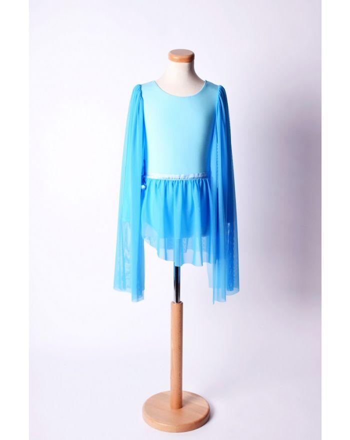 Costum pentru dans si balet cu fusta scurta, albastru