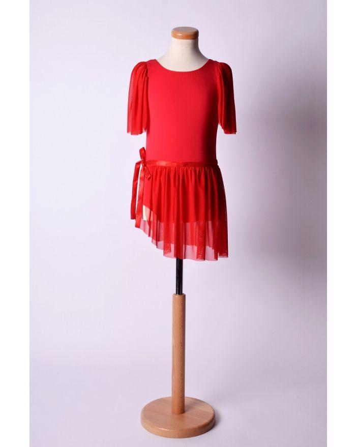 Costum pentru dans si balet cu fusta scurta, rosu