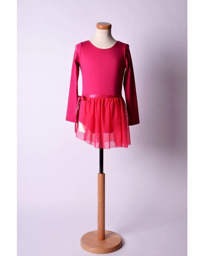 Costum pentru dans si balet cu fusta scurta, cyclam