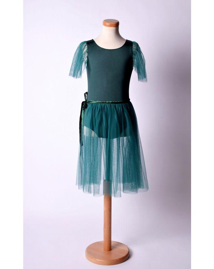 Costum pentru dans si balet cu fusta midi, verde inchis