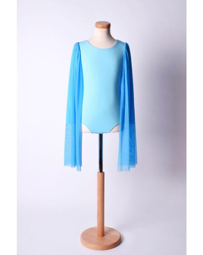 Body pentru dans si balet cu aripioare lungi din voal, albastru