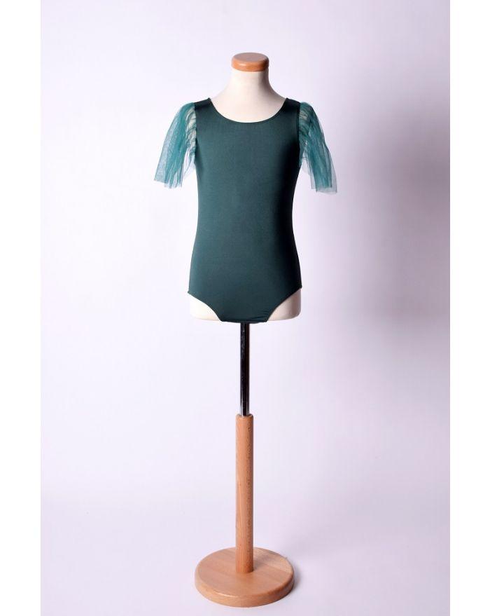 Body pentru dans si balet cu aripioare scurte din voal, verde inchis