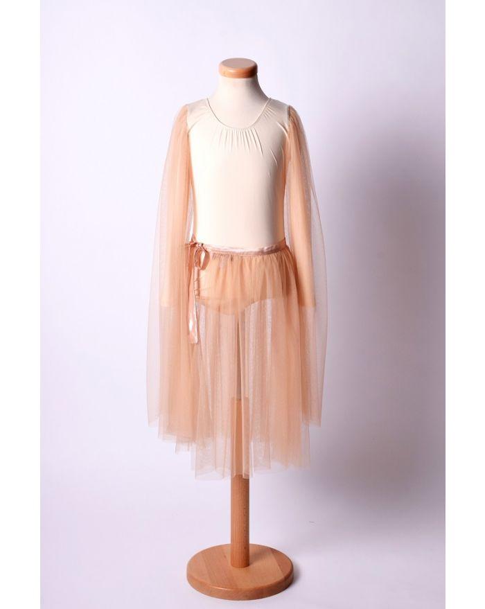 Costum pentru dans si balet cu fusta midi, crem