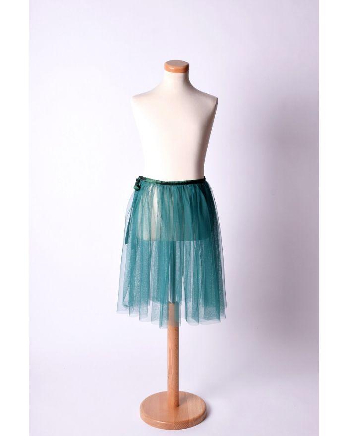 Fustita petala pentru dans si balet - midi, verde inchis