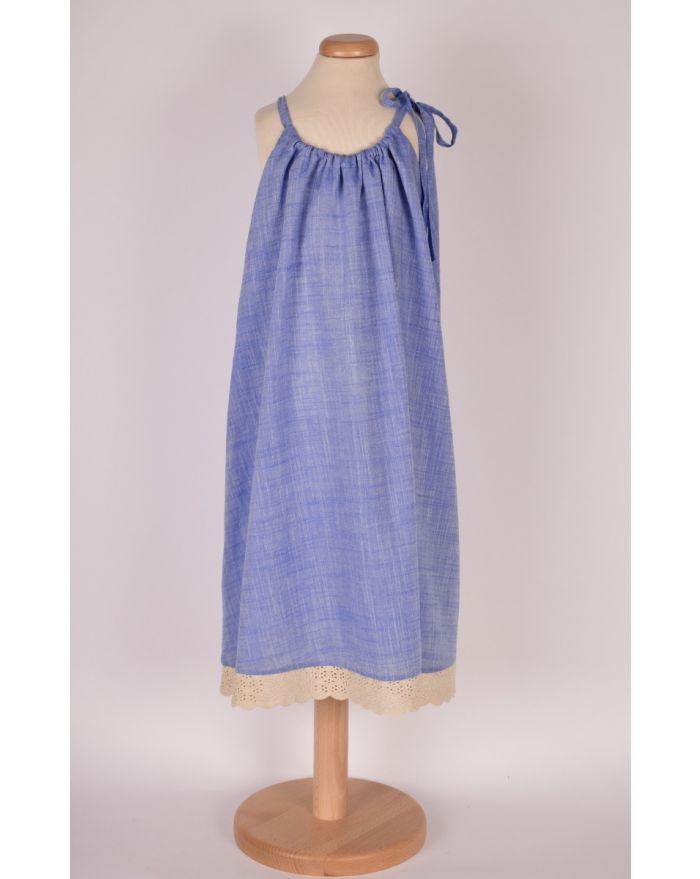 Bluzita de vacanta (cu pretentii de rochita) - bleu