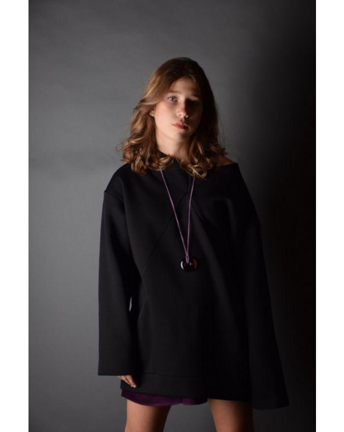 Bluza groasa cu buzunare - neagra
