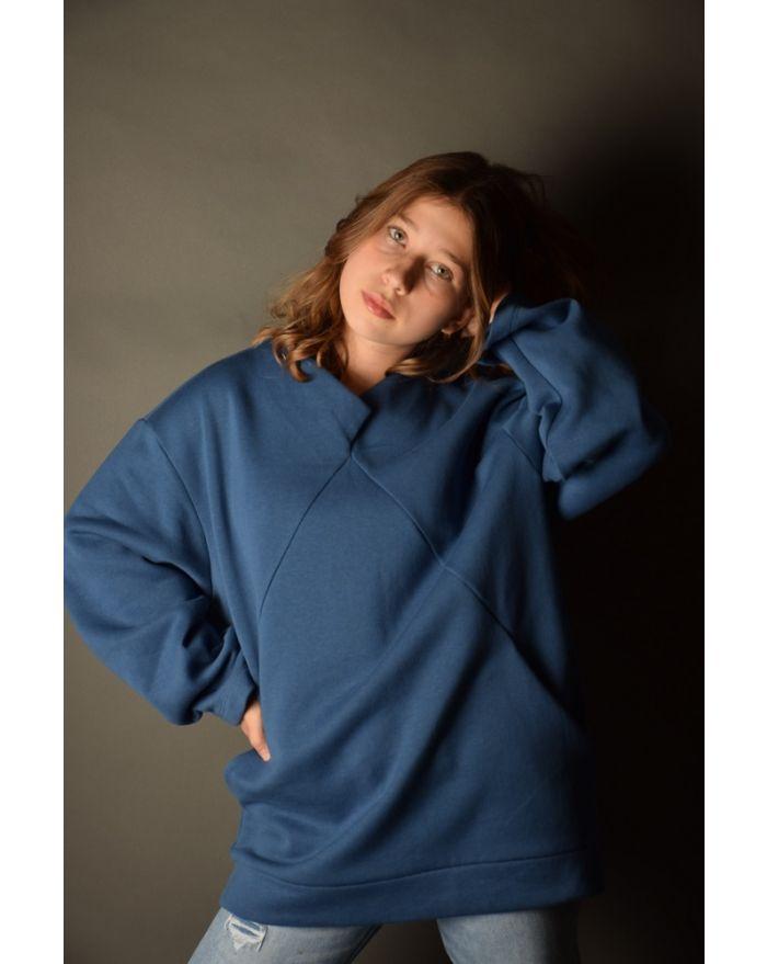 Bluza groasa cu buzunare - albastra