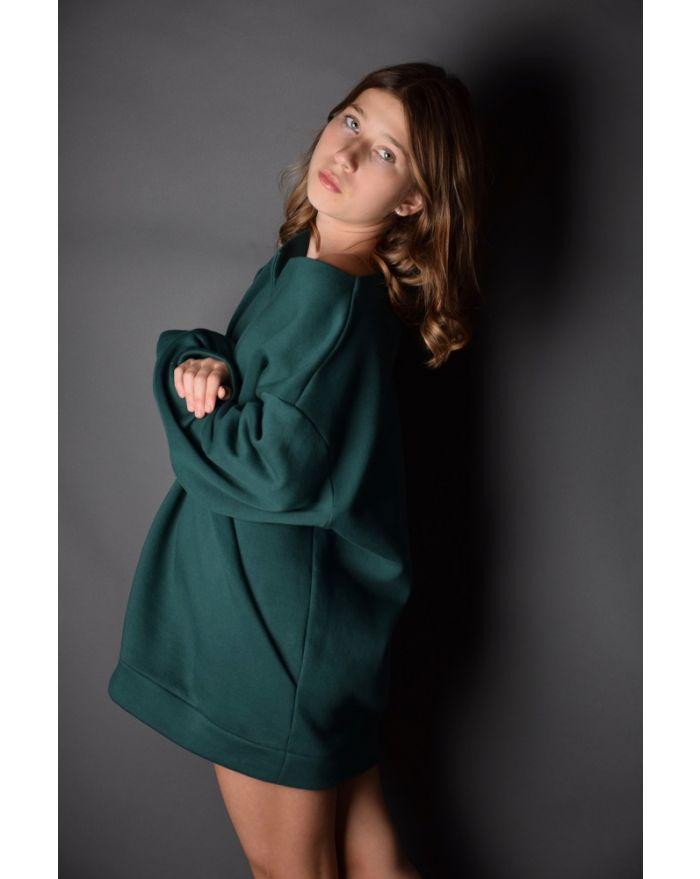 Bluza groasa cu buzunare - verde inchis