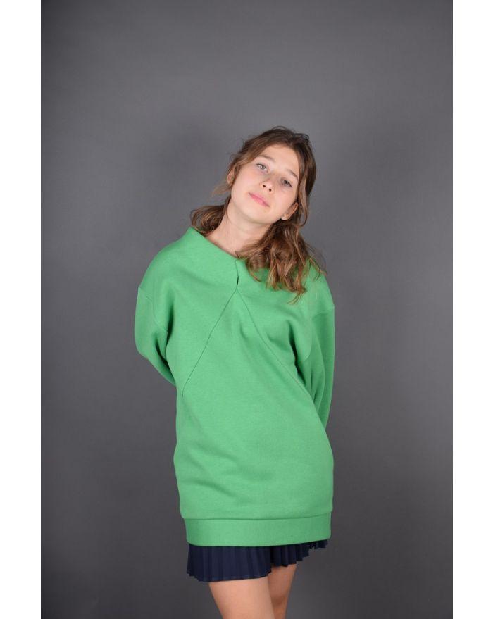 Bluza groasa cu buzunare - verde deschis