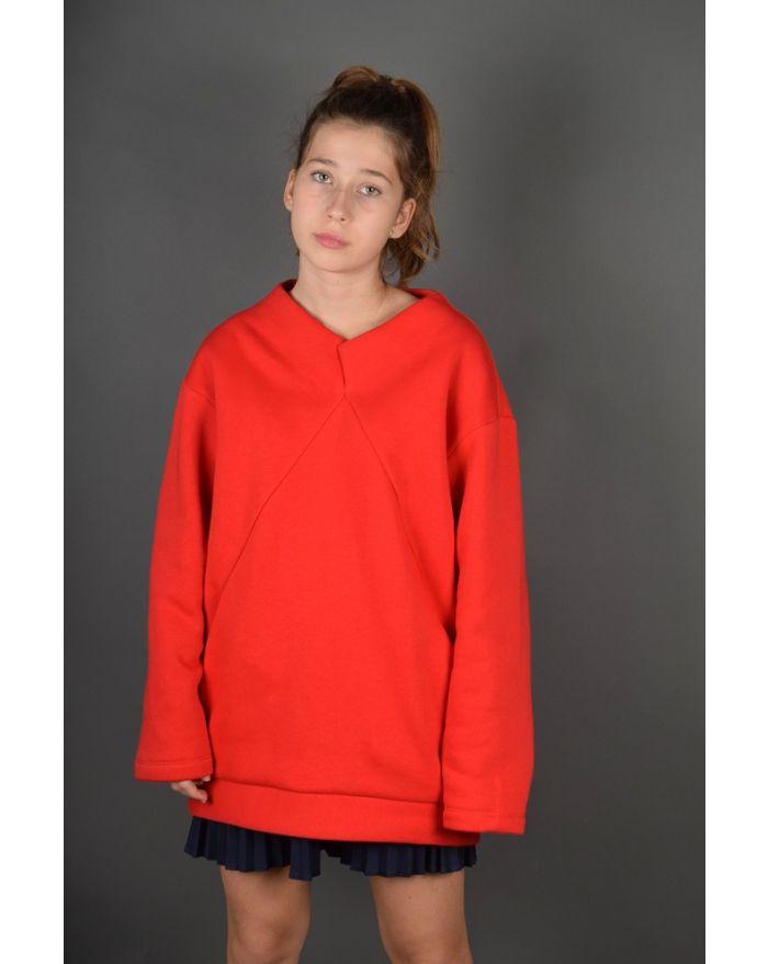 Bluza groasa cu buzunare - rosie