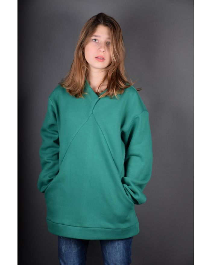 Bluza groasa cu buzunare - verde smarald