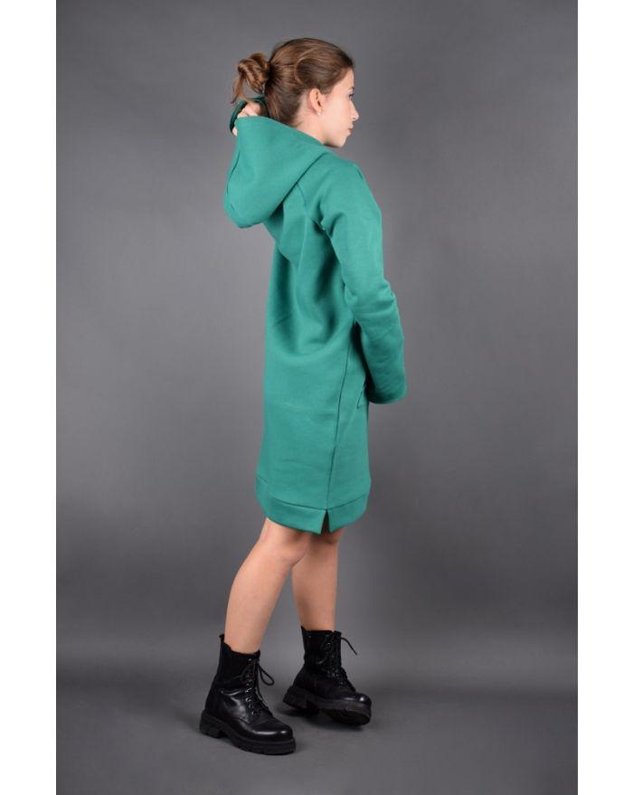 Rochie tip hanorac-verde smarald